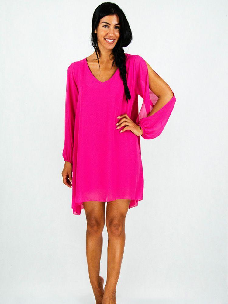 Φόρεμα φούξια σιφόν αέρινο με κόψιμο στα μανίκια Φορέματα 1 182 dcfb23ab623