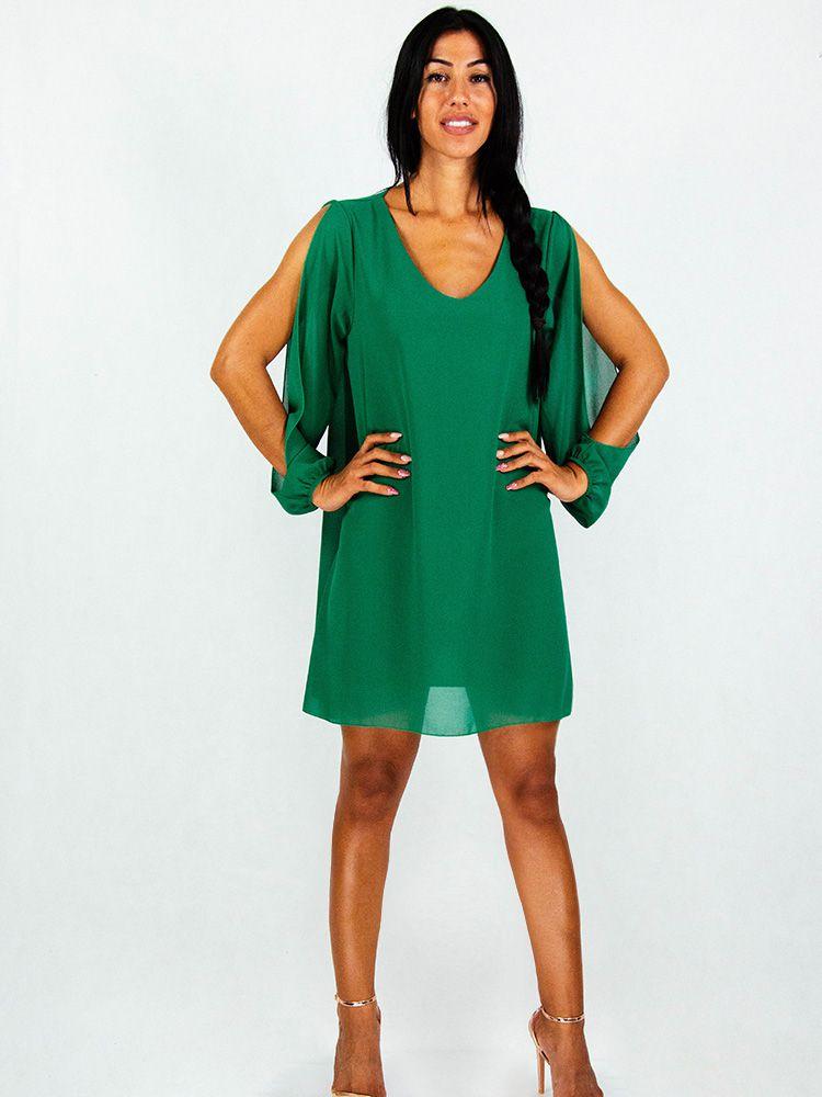 eb73a312ff7c Φόρεμα πράσινο σιφόν αέρινο με κόψιμο στα μανίκια Φορέματα 1 185