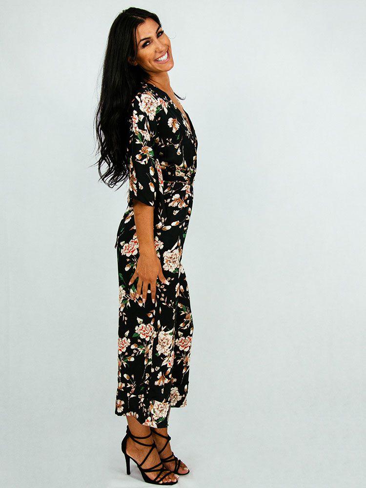 Ολόσωμη φόρμα με λουλούδια και ζώνη Ολόσωμες φόρμες 2 181