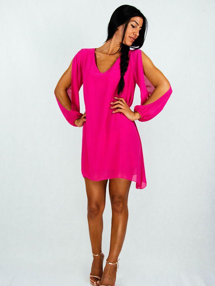 Φόρεμα φούξια σιφόν αέρινο με κόψιμο στα μανίκια Φορέματα 2 183