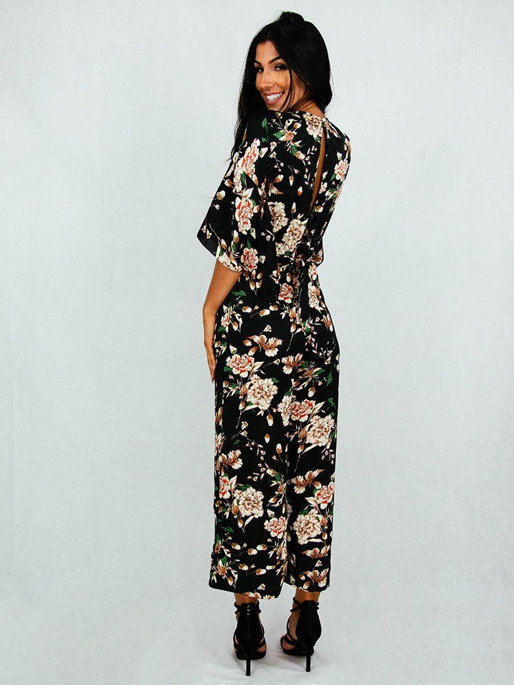 Ολόσωμη φόρμα με λουλούδια και ζώνη Ολόσωμες φόρμες 3 153