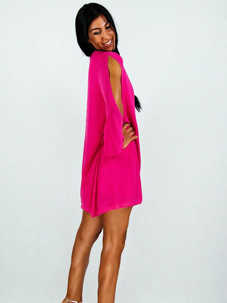 Φόρεμα φούξια σιφόν αέρινο με κόψιμο στα μανίκια Φορέματα 3 155