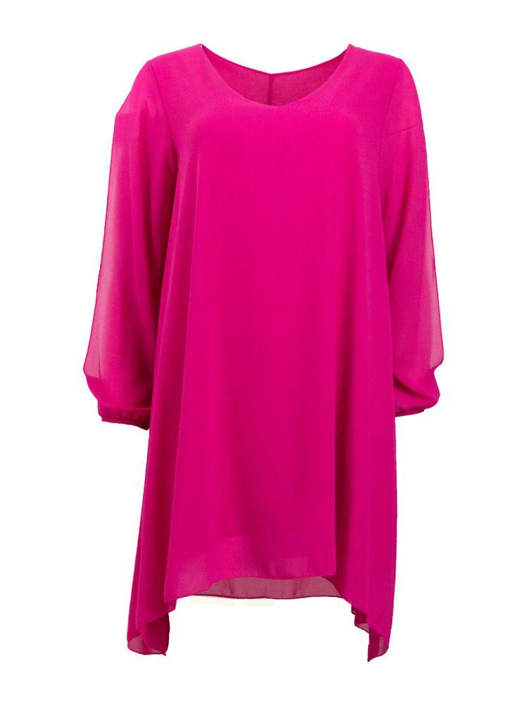 Φόρεμα φούξια σιφόν αέρινο με κόψιμο στα μανίκια Φορέματα 3 16 1