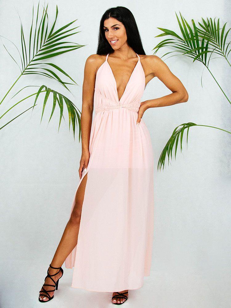 Φόρεμα αέρινο ροζ μακρύ Φορέματα 1 45
