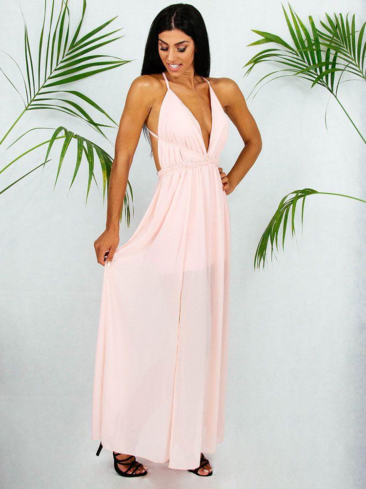 Φόρεμα αέρινο ροζ μακρύ Φορέματα 2 39