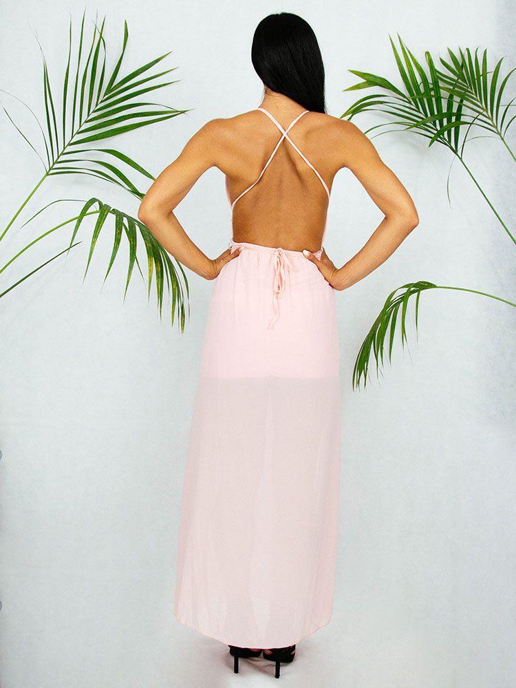 Φόρεμα αέρινο ροζ μακρύ Φορέματα 3 7