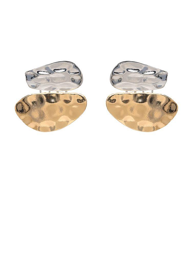 Σκουλαρίκια μεταλλικά δύο χρωμάτων χρυσό και ασημί 3e3cab369a6