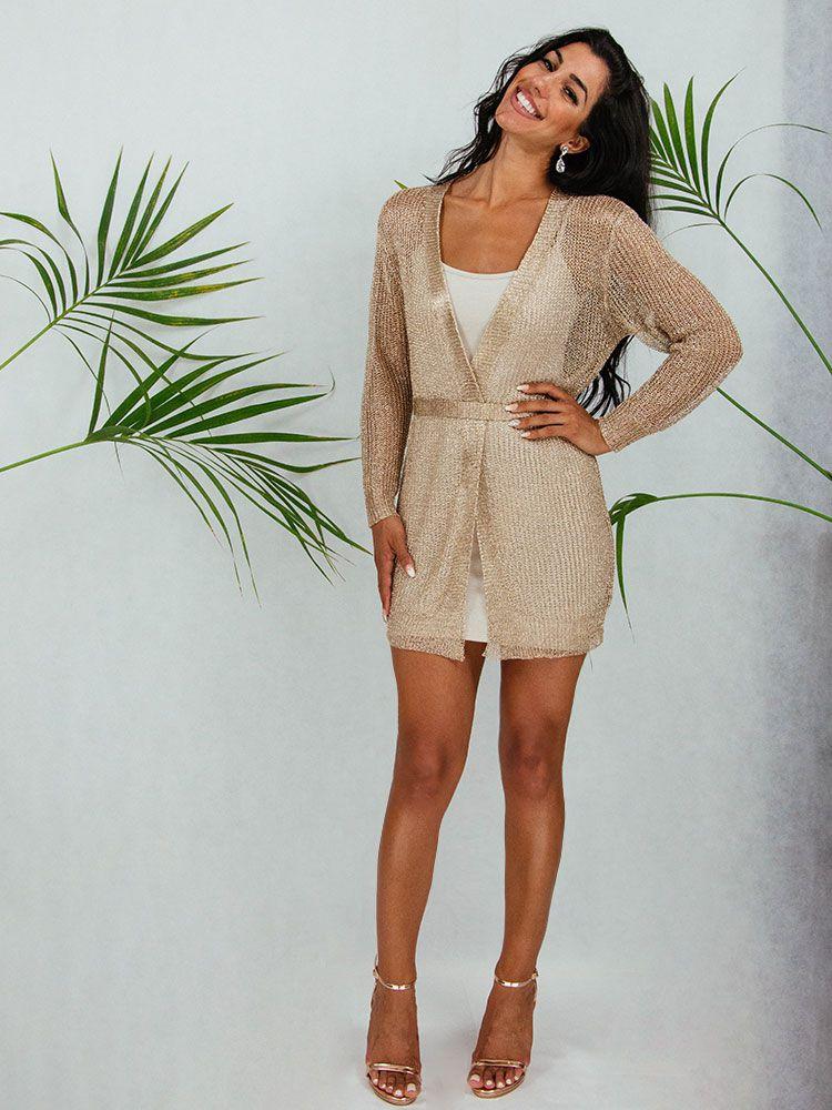 Κιμονό φόρεμα χρυσό μεταλιζέ με ζώνη κοντό Γυνακεία ρούχα, Φορέματα, Κιμονό 1 103
