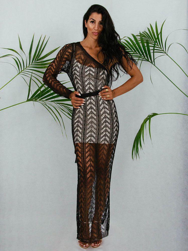 Φόρεμα μακρύ πλεκτό μαύρο μεταλιζέ Γυνακεία ρούχα, Φορέματα 1 106