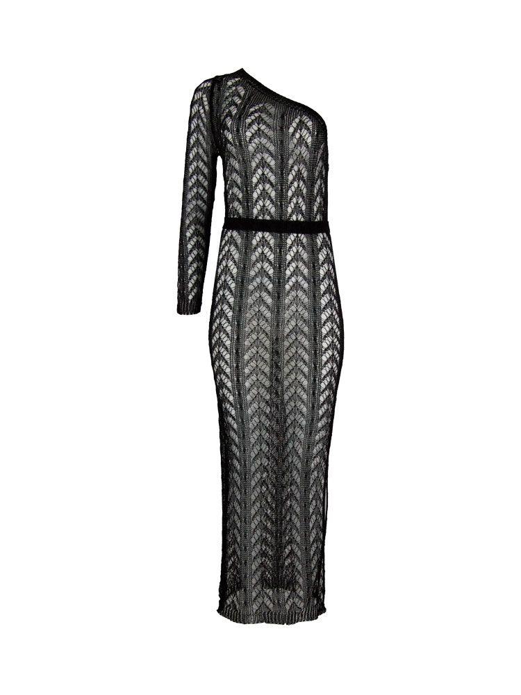 Φόρεμα μακρύ πλεκτό μαύρο μεταλιζέ Γυνακεία ρούχα, Φορέματα 1 60