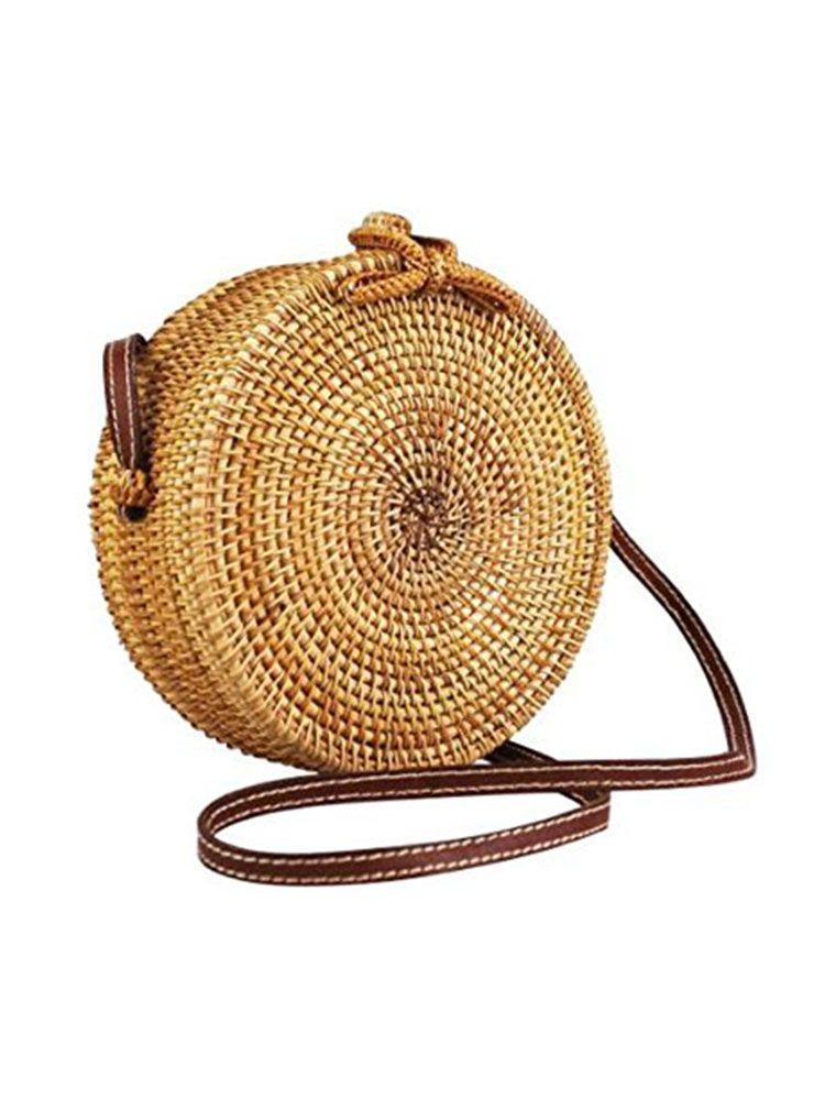 Ψάθινη τσάντα σκληρή στρογγυλή Τσάντες, Τσάντες bamboo, Τσάντες ώμου, Ψάθινες τσάντες 2 56