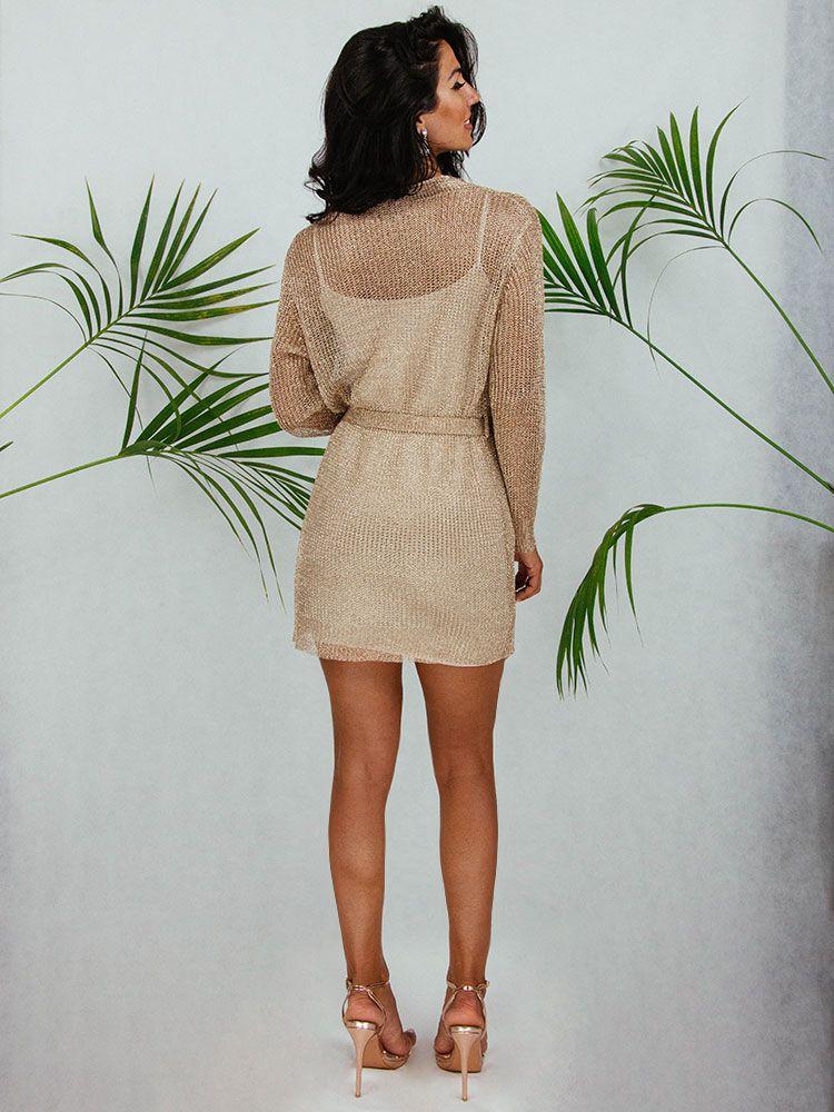 Κιμονό φόρεμα χρυσό μεταλιζέ με ζώνη κοντό Γυνακεία ρούχα, Φορέματα, Κιμονό 3 80