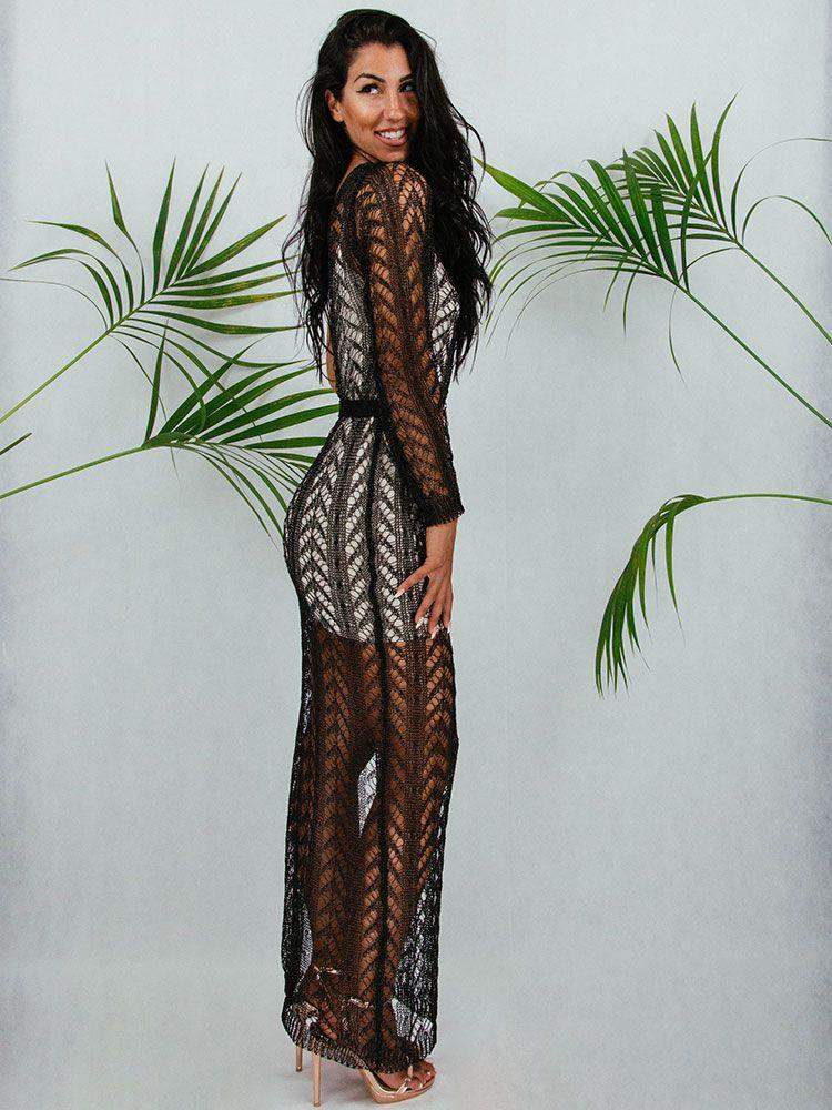 Φόρεμα μακρύ πλεκτό μαύρο μεταλιζέ Γυνακεία ρούχα, Φορέματα 3 83