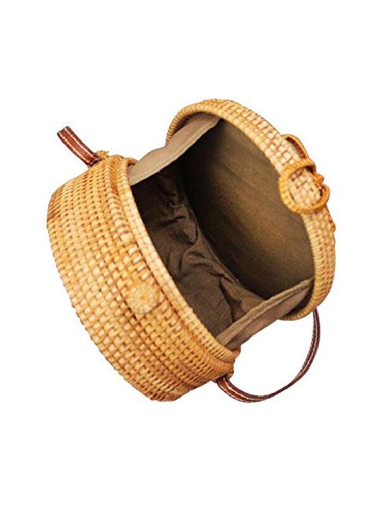 Ψάθινη τσάντα σκληρή στρογγυλή Τσάντες, Τσάντες bamboo, Τσάντες ώμου, Ψάθινες τσάντες 5