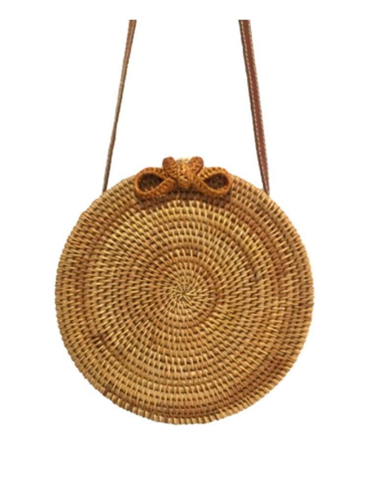 Ψάθινη τσάντα σκληρή στρογγυλή Τσάντες, Τσάντες bamboo, Τσάντες ώμου, Ψάθινες τσάντες 6 1