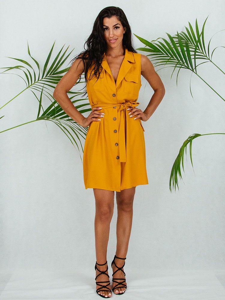 Φόρεμα κοντο μουσταρδί με γιακά ζώνη και κουμπιά Φορέματα 1 2