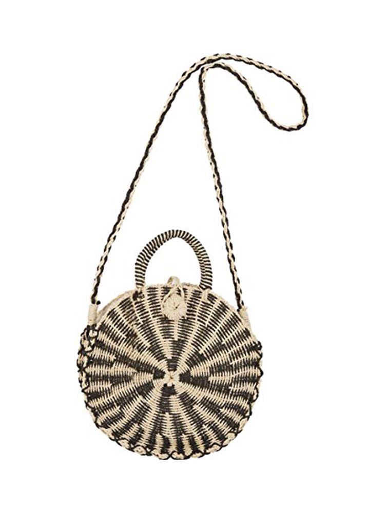Ψάθινη τσάντα καλάθι στρογγυλή μπεζ μαύρο Ψάθινες τσάντες 1 3