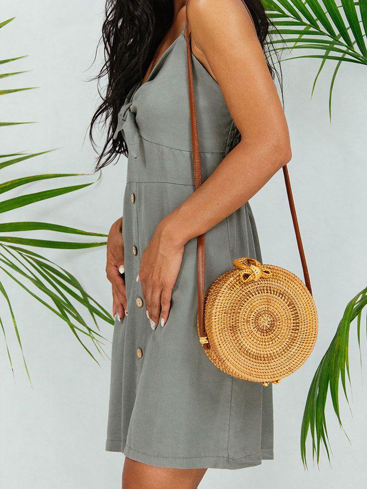 Ψάθινη τσάντα σκληρή στρογγυλή Τσάντες, Τσάντες bamboo, Τσάντες ώμου, Ψάθινες τσάντες 1 4