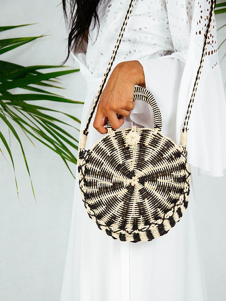 Ψάθινη τσάντα καλάθι στρογγυλή μπεζ μαύρο Ψάθινες τσάντες 1 5