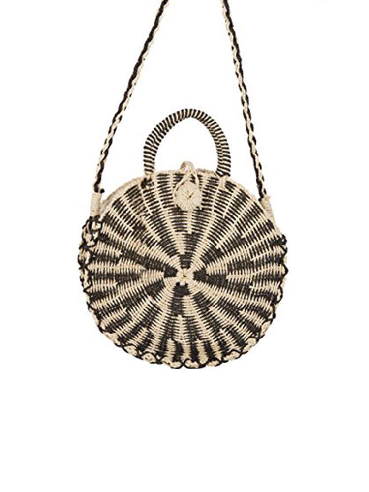 Ψάθινη τσάντα καλάθι στρογγυλή μπεζ μαύρο Ψάθινες τσάντες 11
