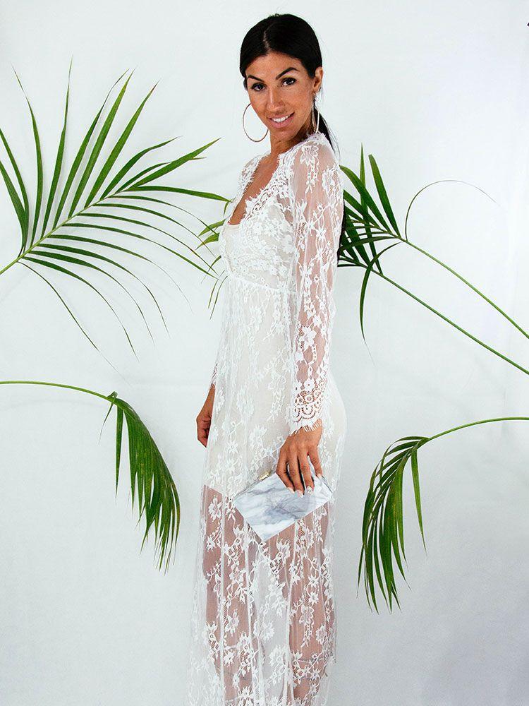 a7380a37df16 Φόρεμα λευκό όλο δαντέλα Γυναικεία ρούχα