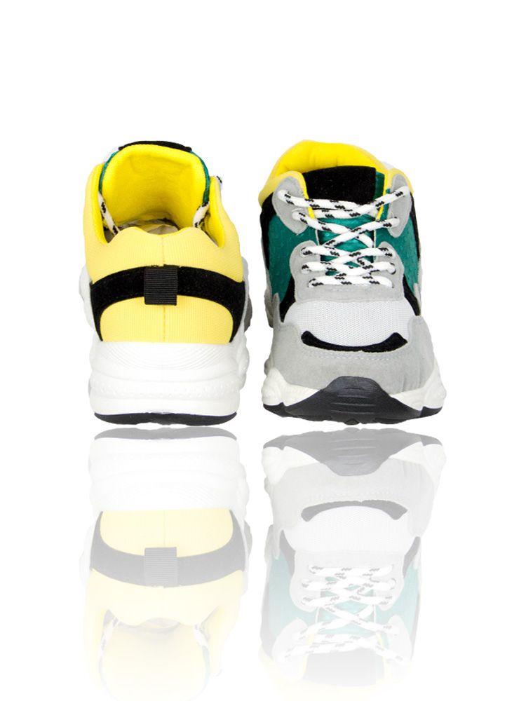 Sneakers με φαρδιά σόλα και κίτρινες πράσινες λεπτομέρειες Sneakers 2 29
