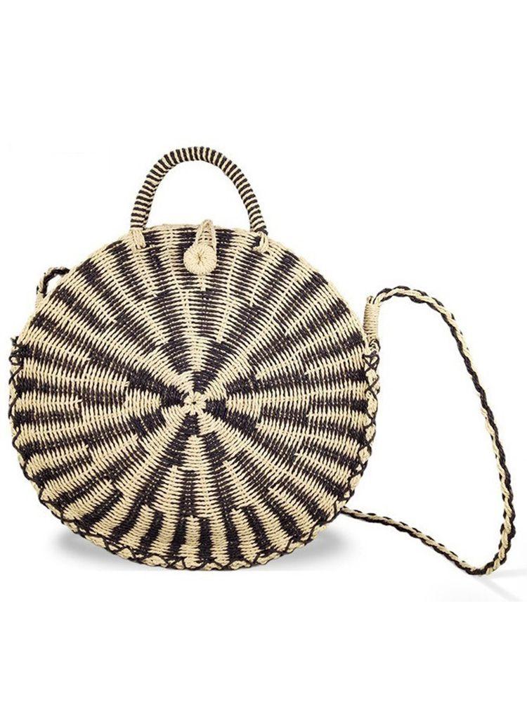 Ψάθινη τσάντα καλάθι στρογγυλή μπεζ μαύρο Ψάθινες τσάντες 2 4