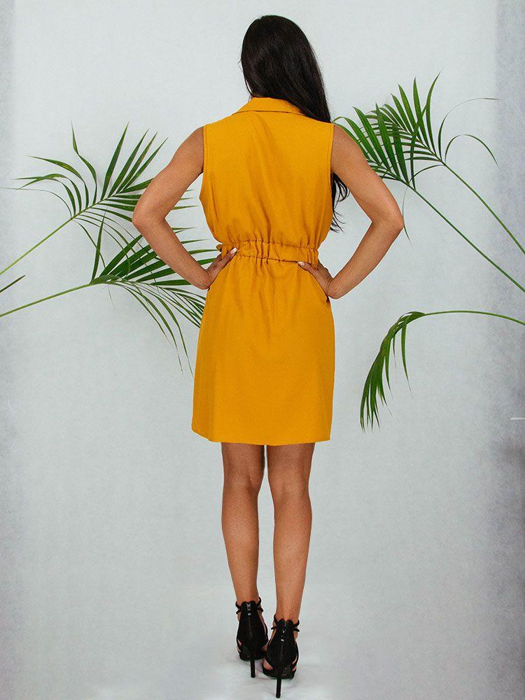 Φόρεμα κοντο μουσταρδί με γιακά ζώνη και κουμπιά Φορέματα 3 2