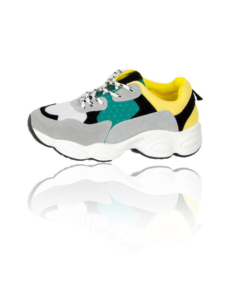 Sneakers με φαρδιά σόλα και κίτρινες πράσινες λεπτομέρειες Sneakers 3 27