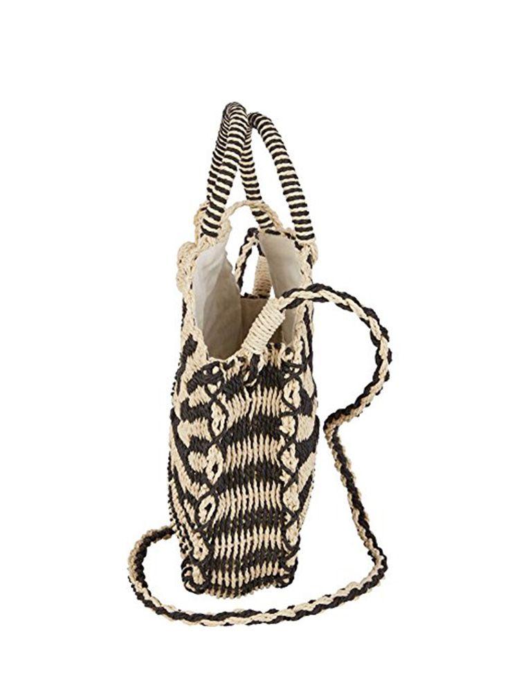 Ψάθινη τσάντα καλάθι στρογγυλή μπεζ μαύρο Ψάθινες τσάντες 3 3