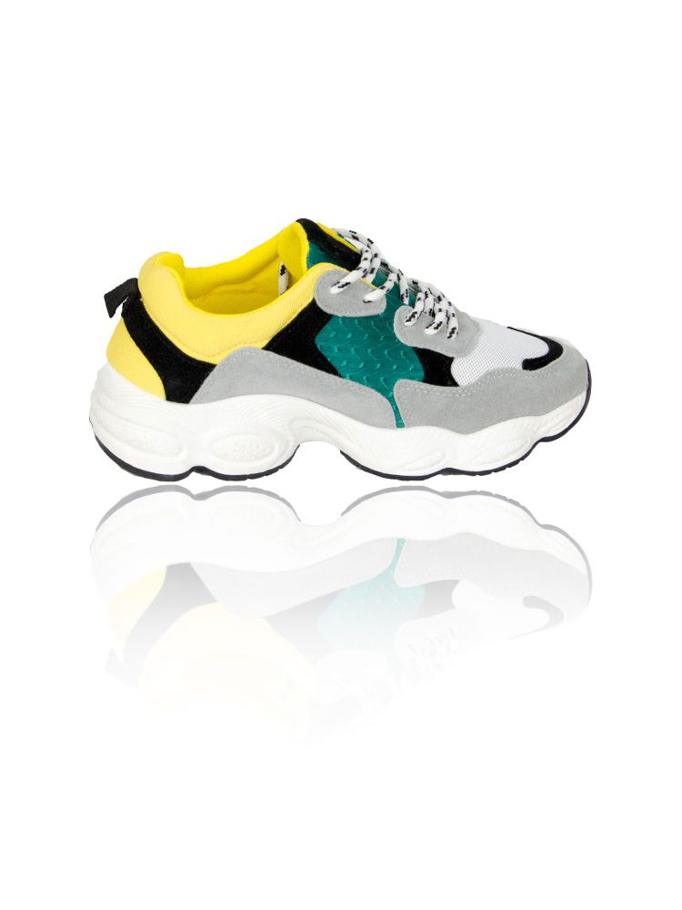 Sneakers με φαρδιά σόλα και κίτρινες πράσινες λεπτομέρειες Sneakers 4 12