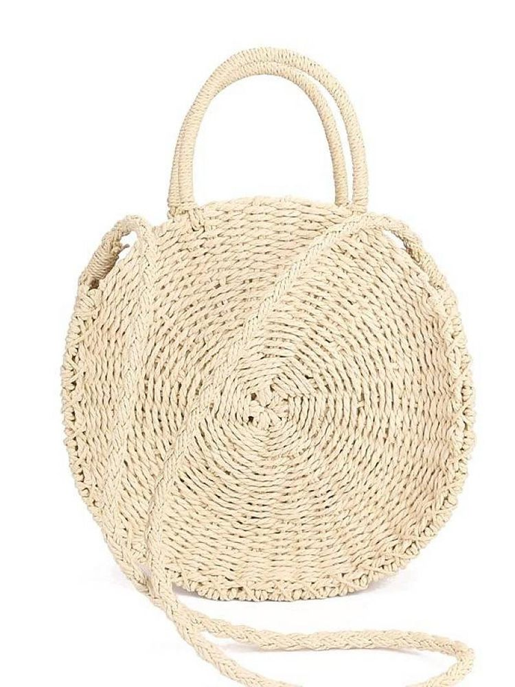 Ψάθινη τσάντα στρογγυλή καλάθι μπεζ Ψάθινες τσάντες 5