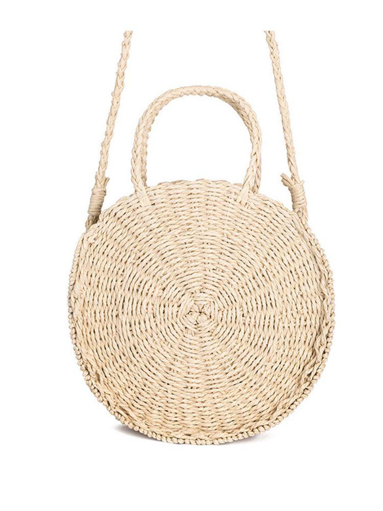 Ψάθινη τσάντα στρογγυλή καλάθι μπεζ Ψάθινες τσάντες 6 1