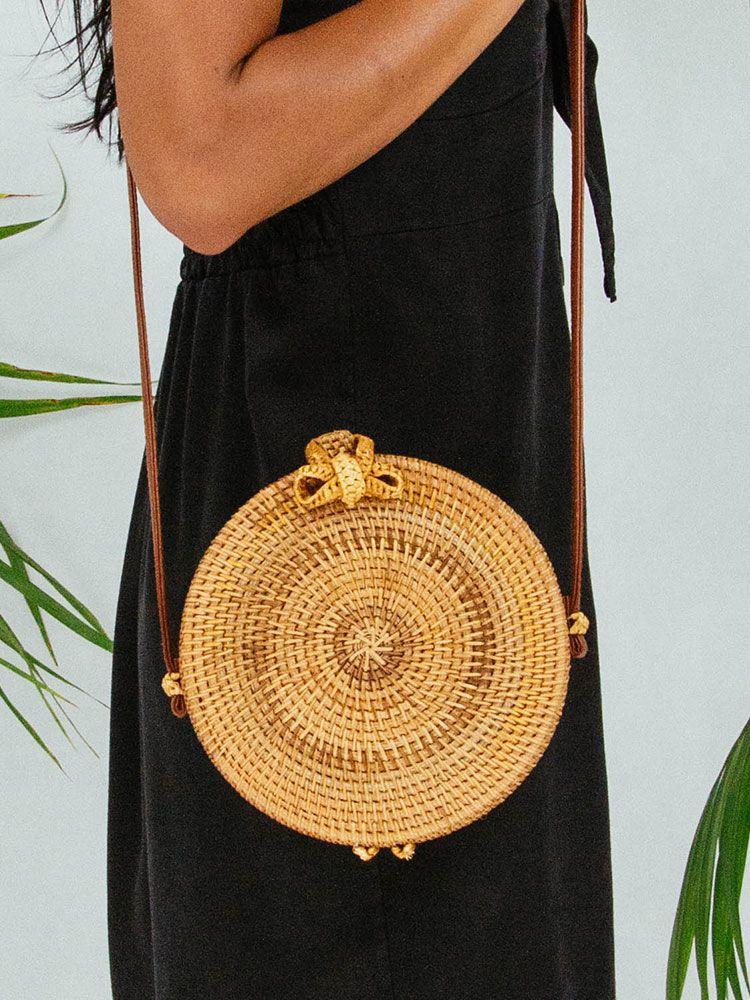Ψάθινη τσάντα σκληρή στρογγυλή Τσάντες, Τσάντες bamboo, Τσάντες ώμου, Ψάθινες τσάντες 8