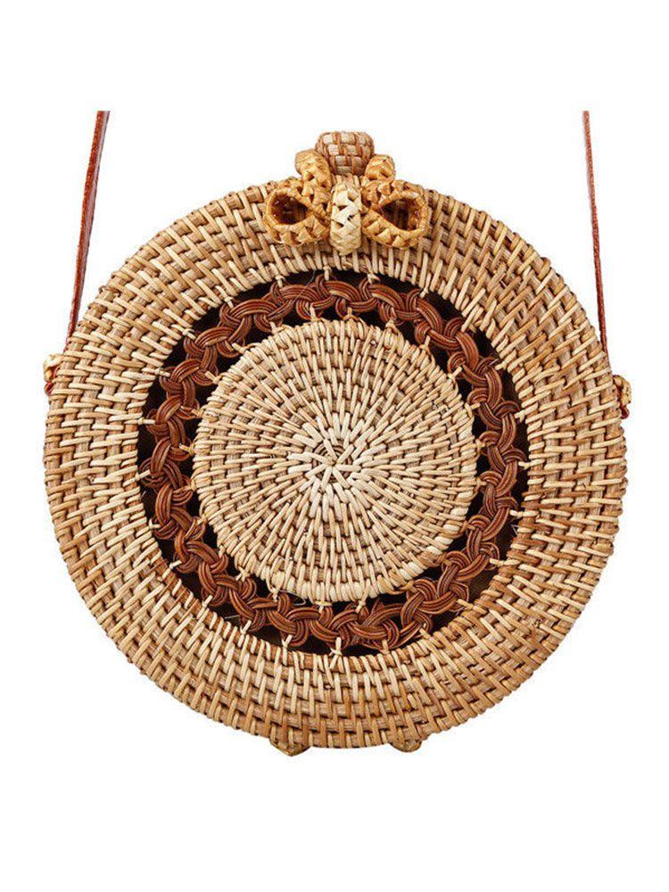 Boho ψάθινη τσάντα στρογγυλή με σχέδιο Τσάντες 893b2d3f411