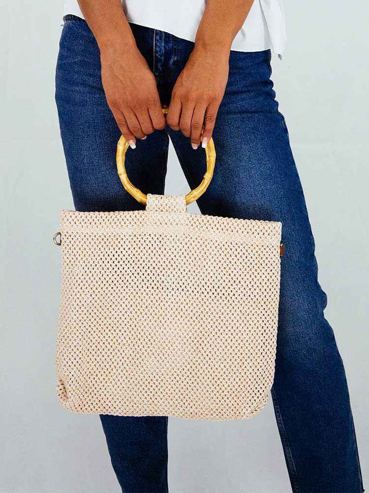 Τσάντα πλεκτή μπεζ με μπαμπού δαχτυλίδι χειρολαβή Τσάντες, Τσάντες ώμου 1 11