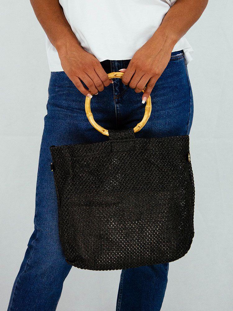 9335875e70 Τσάντα πλεκτή μαύρη με μπαμπού δαχτυλίδι χειρολαβή Τσάντες