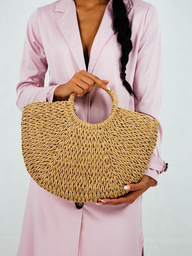 Ψάθινη τσάντα με στρογγυλή λαβή Ψάθινες τσάντες 2 13