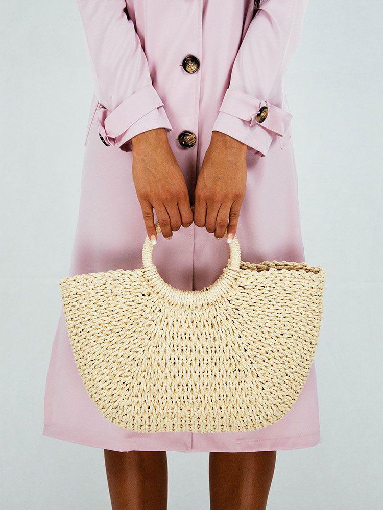 Ψάθινη τσάντα με στρογγυλή λαβή μπεζ f0183485d71
