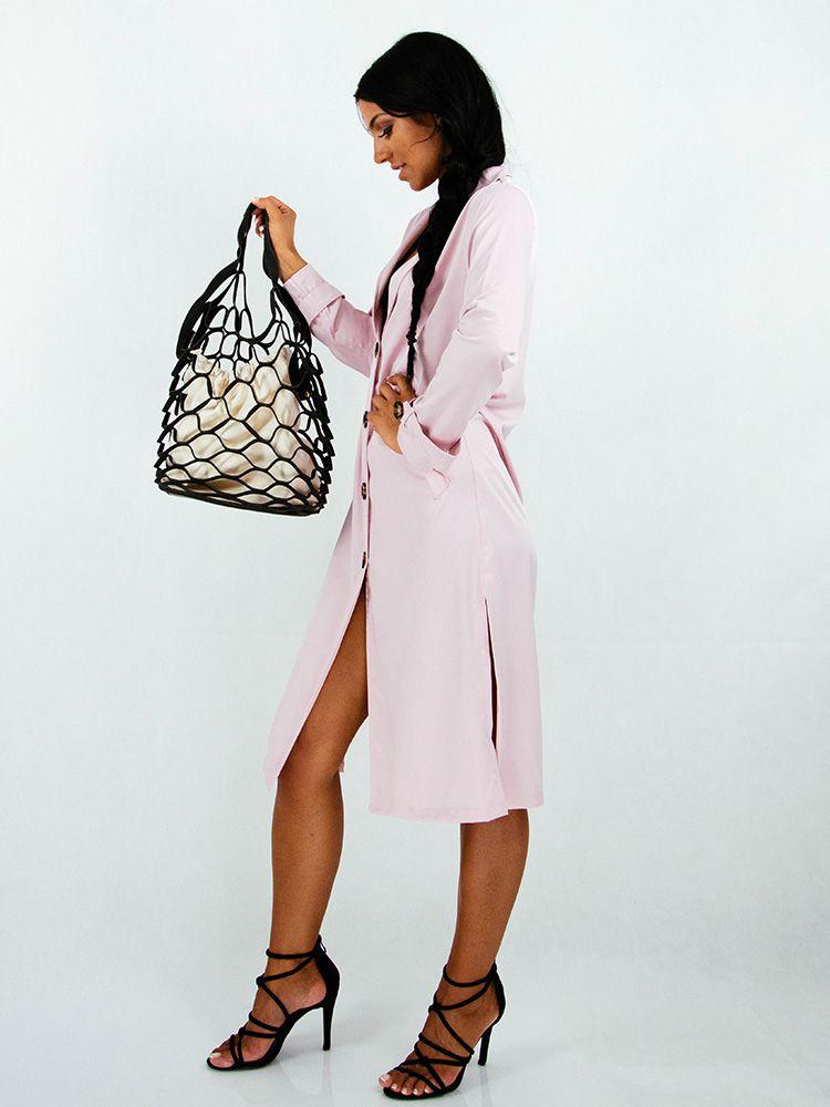 Φόρεμα midi ροζ με κουμπιά Φορέματα 2 22