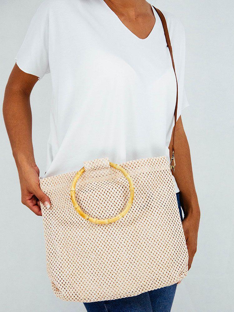 Τσάντα πλεκτή μπεζ με μπαμπού δαχτυλίδι χειρολαβή Τσάντες, Τσάντες ώμου 3 5