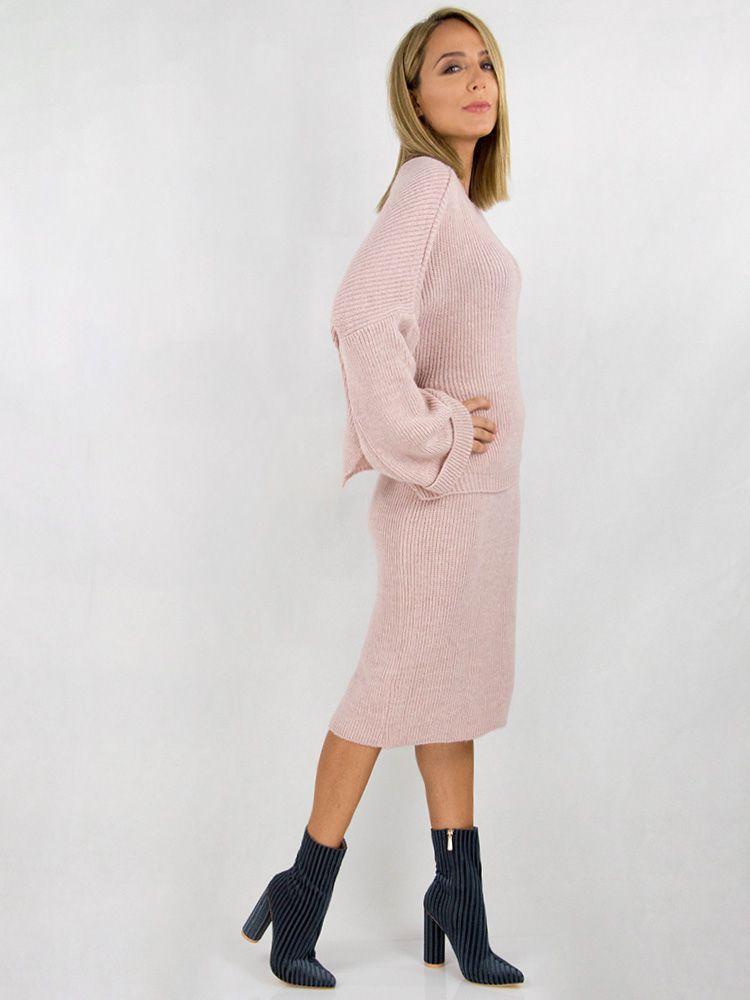 Σετ από πλεκτη φούστα και oversized μπλούζα ροζ Σετ 1 35
