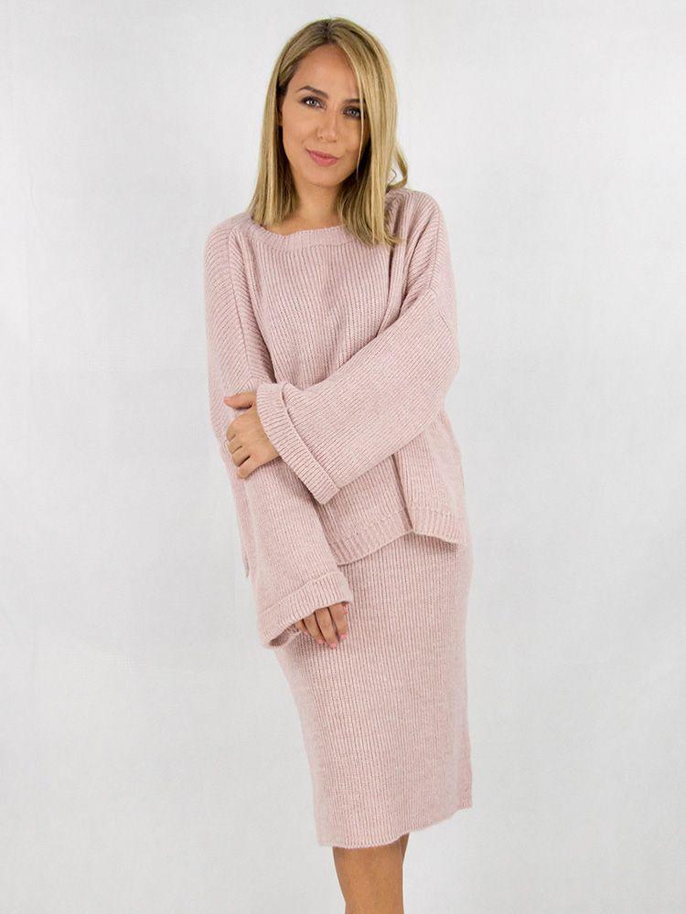 Σετ από πλεκτη φούστα και oversized μπλούζα ροζ Σετ 2 33