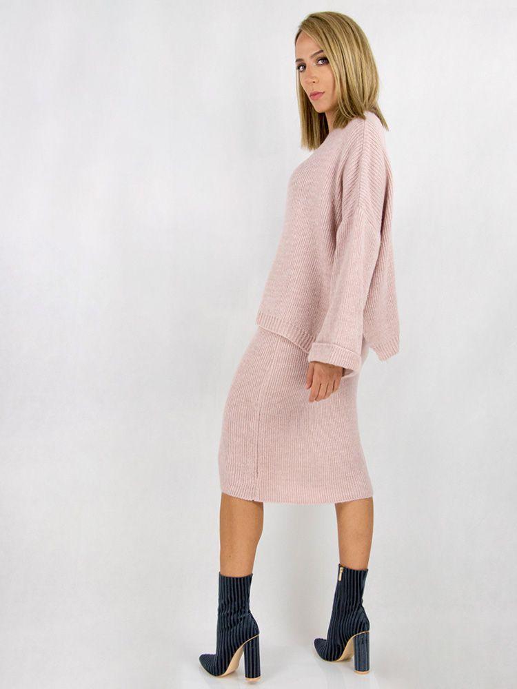 Σετ από πλεκτη φούστα και oversized μπλούζα ροζ Σετ 3 27
