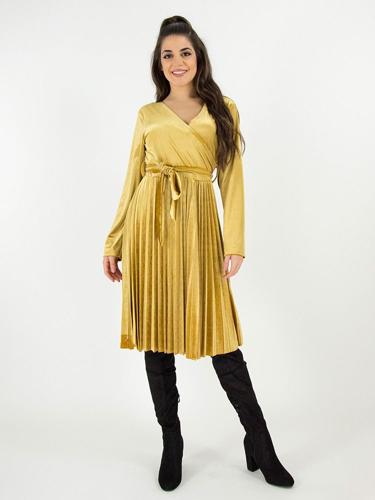 dfe3d29509dc Κρουαζέ φόρεμα βελουτέ με πλισέ φούστα και ζώνη χρυσό Φορέματα 1 23