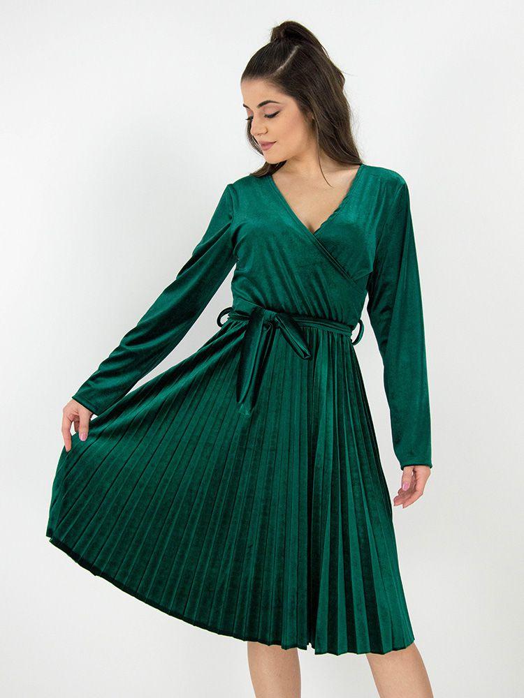 Κρουαζέ φόρεμα βελουτέ με πλισέ φούστα και ζώνη πράσινο Φορέματα 1 24 44931b43378