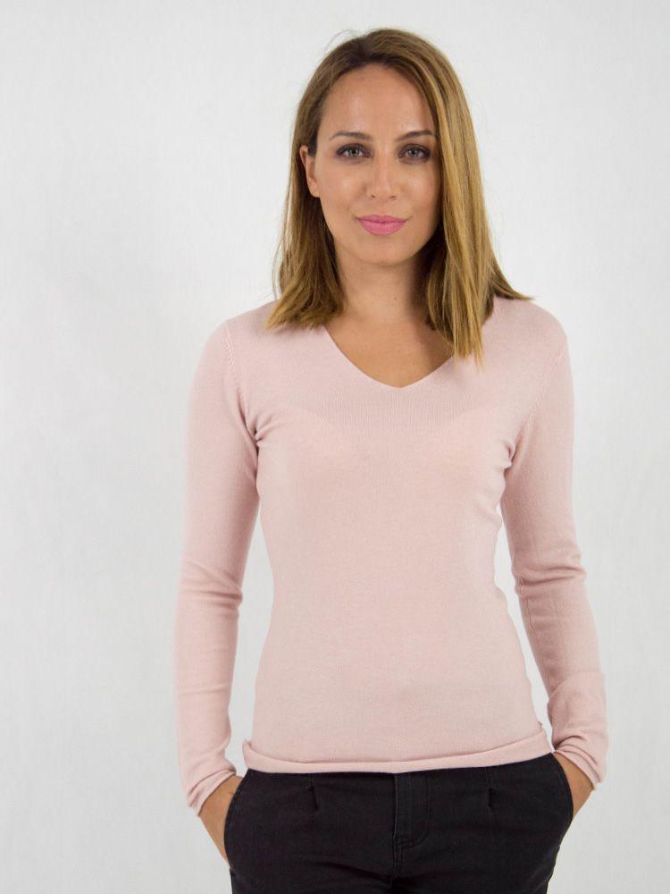 c69a6d99f764 Μπλούζα πλεκτή απλή με λαιμόκοψη V ροζ - Style.gr