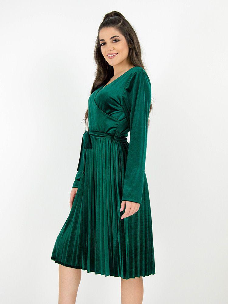 Κρουαζέ φόρεμα βελουτέ με πλισέ φούστα και ζώνη πράσινο Φορέματα 2 23 478a187c668