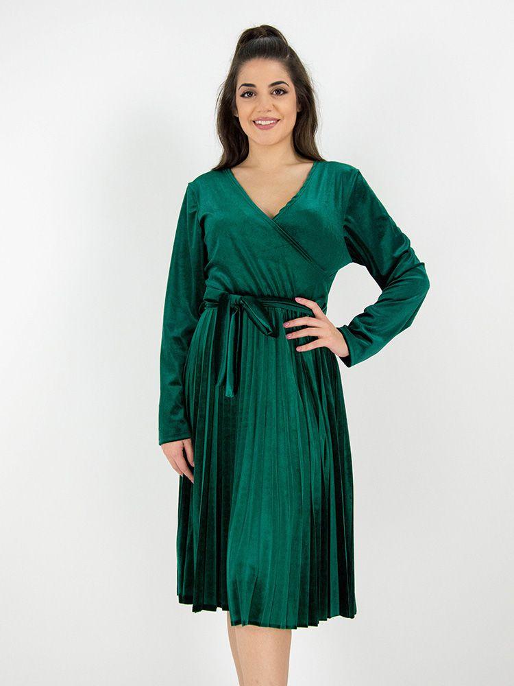 Κρουαζέ φόρεμα βελουτέ με πλισέ φούστα και ζώνη πράσινο Φορέματα 3 19 6b440344d38