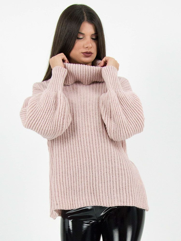 Πλεκτό πουλόβερ ζιβάγκο ροζ Μπλούζες 1 6